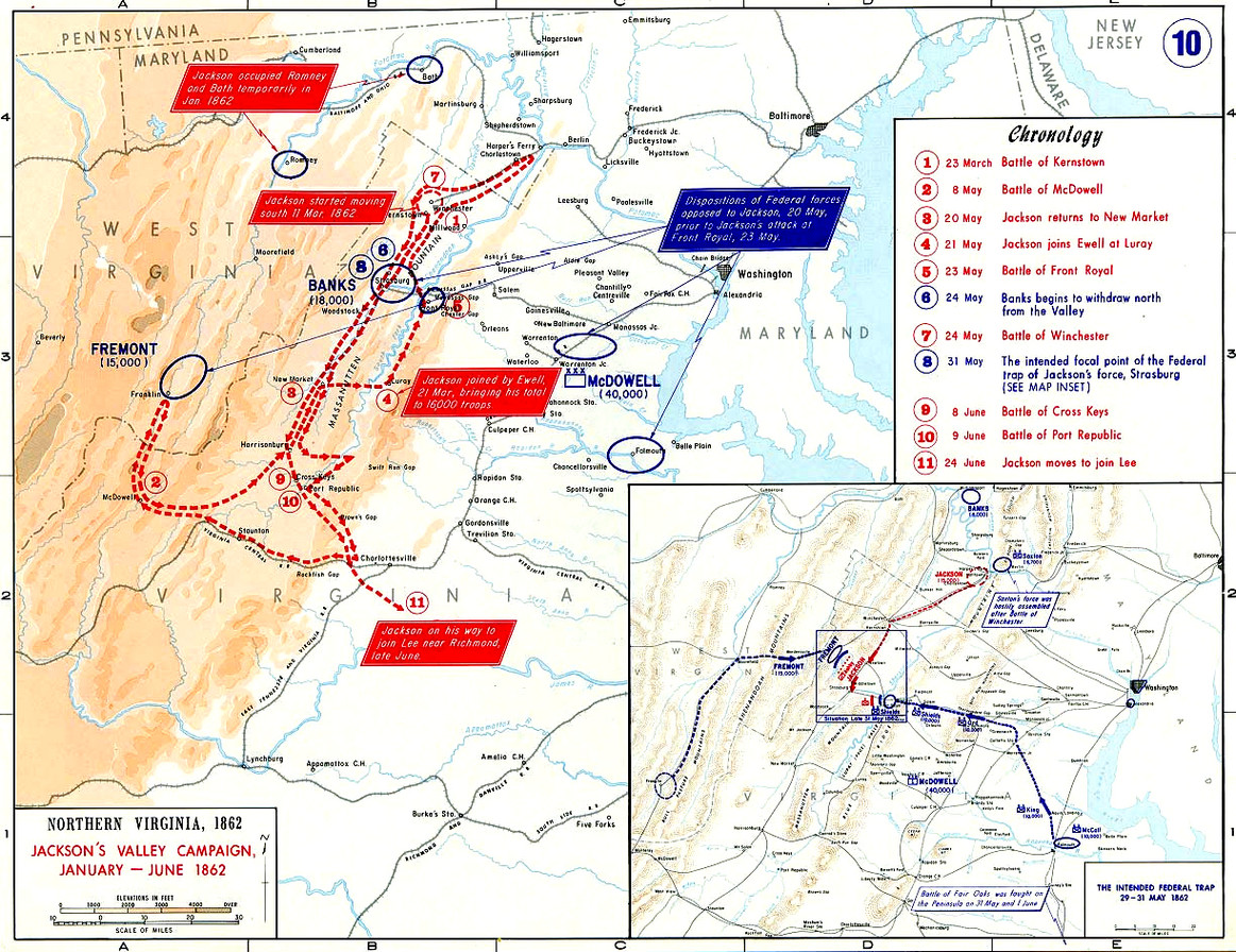 Stonewall Jackson Valley Campaign Shenandoah Civil War Map