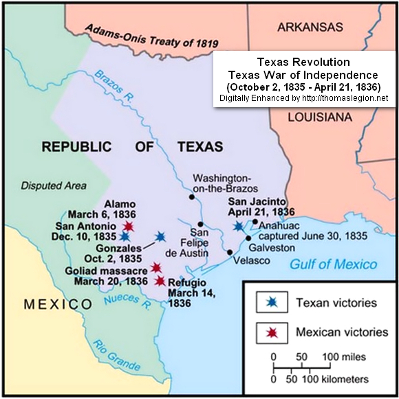 Texas Revolution History Texas War Of Independence Mexico - Battle of san jacinto map us