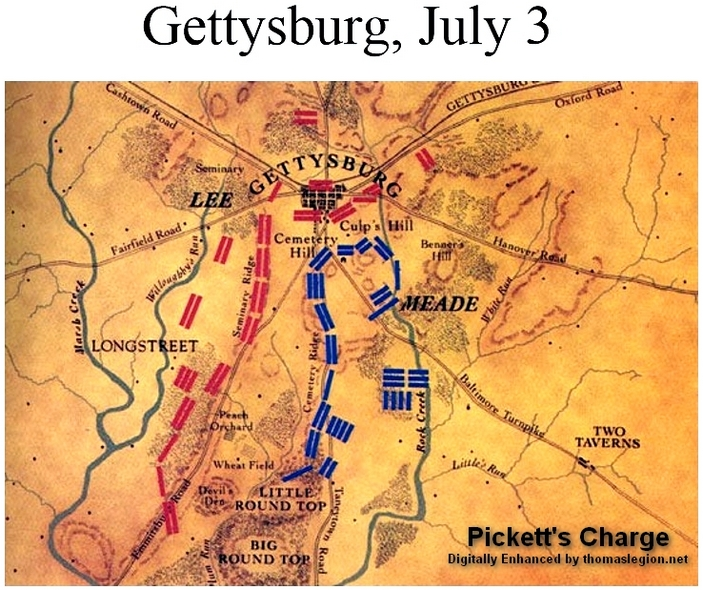 Gettysburg Topographic Map.Gettysburg Pickett S Charge Confederate Pickett General Map