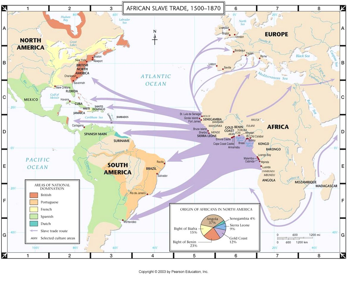 africa and transatlantic slave trade to north america history map