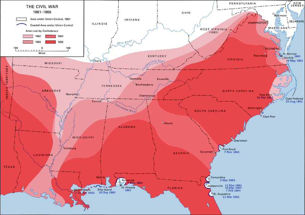 Civil War Battles Military Infantry Army Cavalry Artillery - Union confederate us territories and border states map