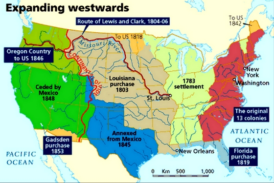 US Expansion Map Expansionism Maps Westward Expansion